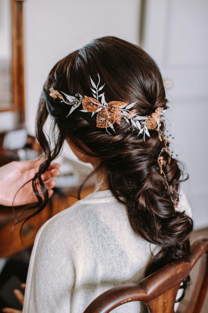 Loose French braid boho bridal hairstyle