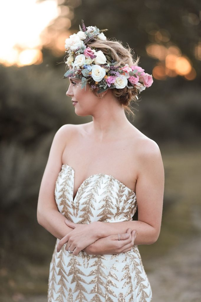 Wedding Hairstyles for Festival Brides - floral crown