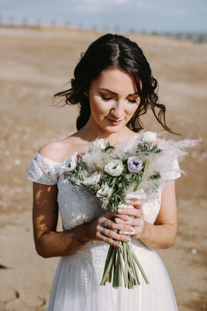 Boho bouquet with fresh and dried florals